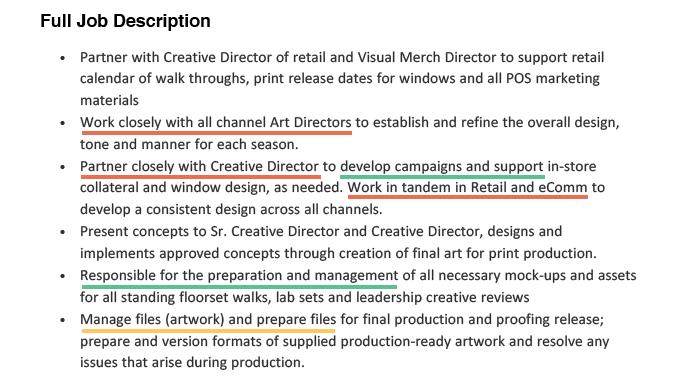 An example of a graphic design job description