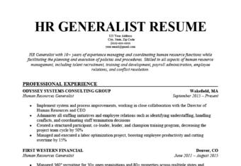HR Genralist Resume Template
