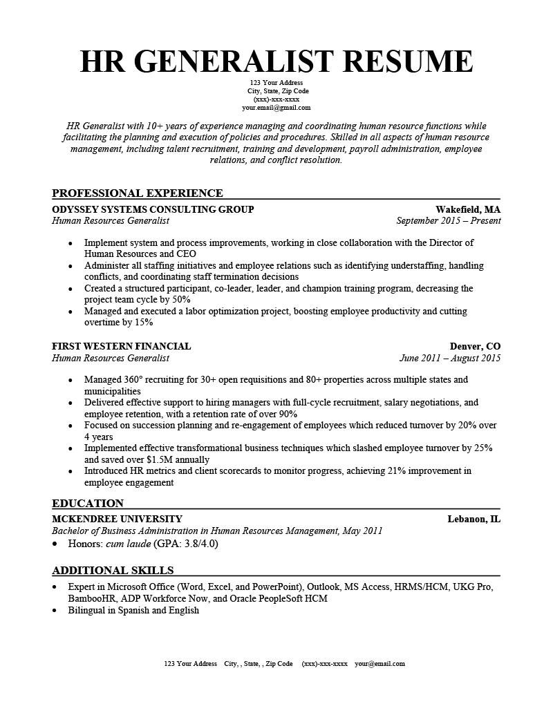 Sample hr generalist resume india professional resume writer sites for college