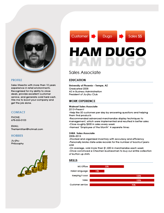 A bad resume example with distracting graphics