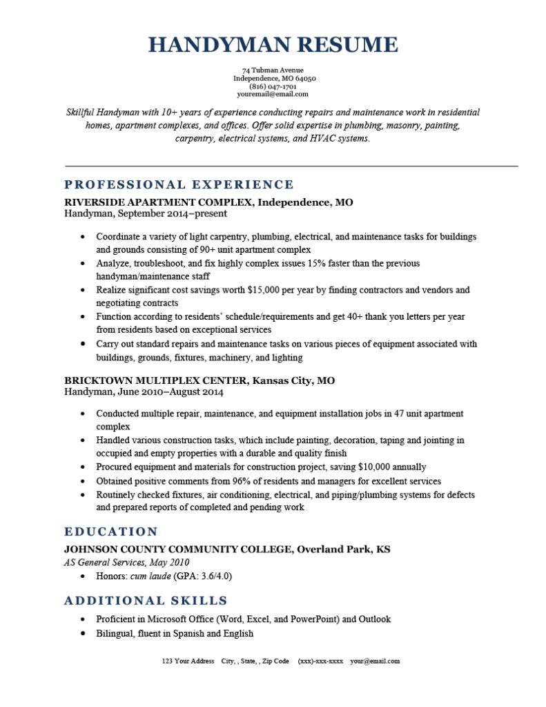 handyman resume sample  writing tips from resume genius