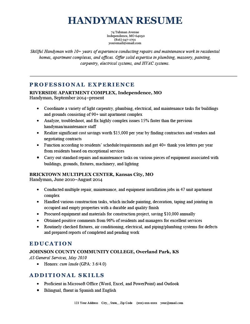 Handyman Resume Sample Template