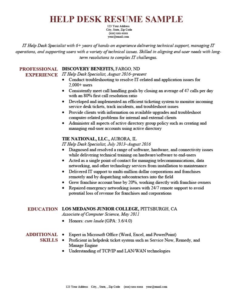 help desk resume sample for download  resume genius