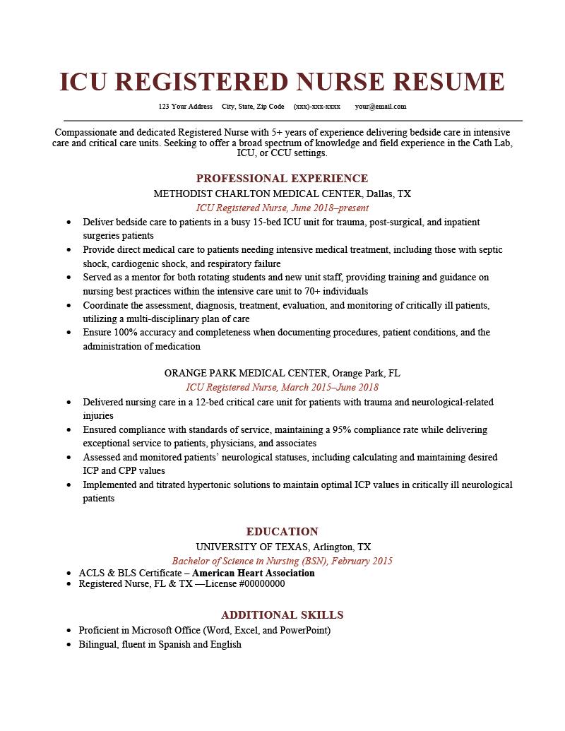 ICU Registered Nurse Resume Sample