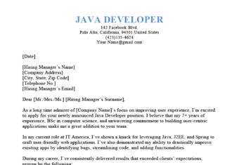 Java Developer Cover Letter from resumegenius.com