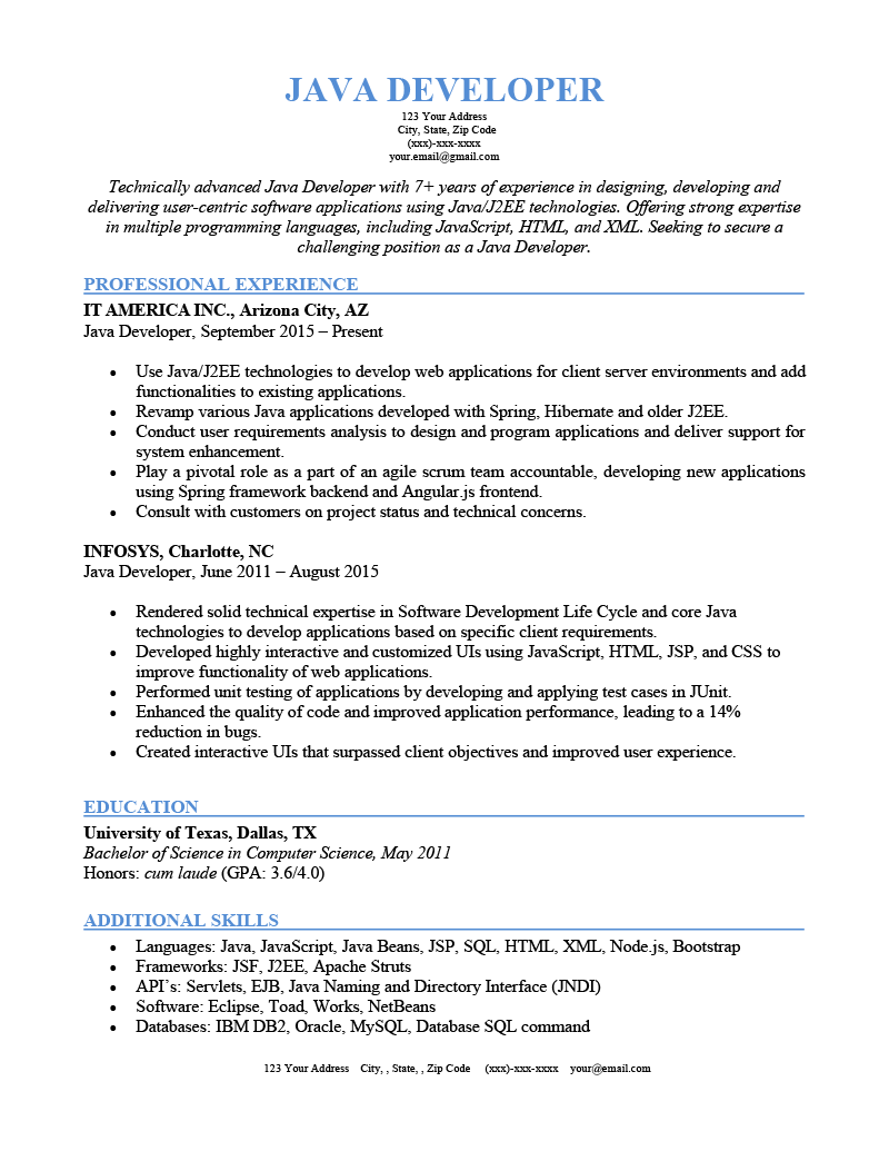 A Java developer resume sample