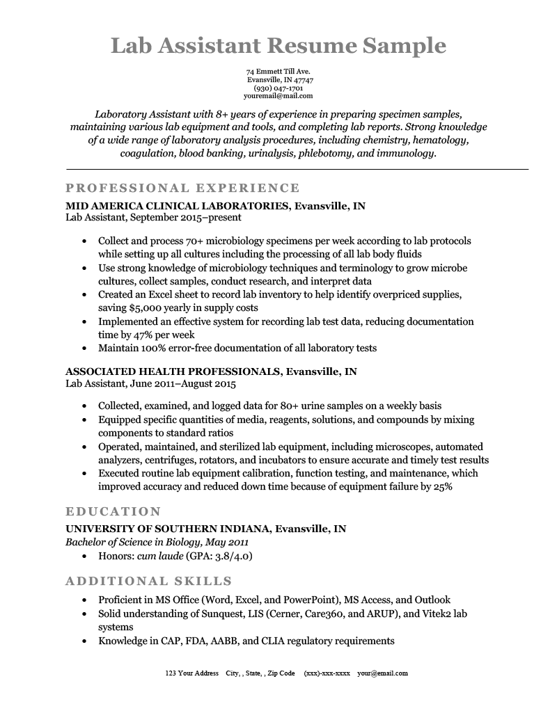 Lab Assistant Resume Sample Template