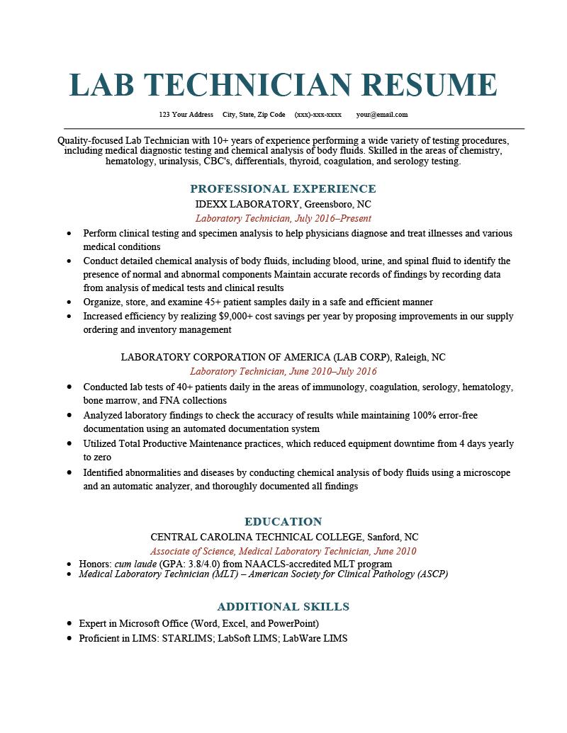 lab technician resume sample  how to write  resume genius