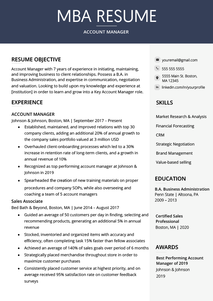 An example of a MBA resume
