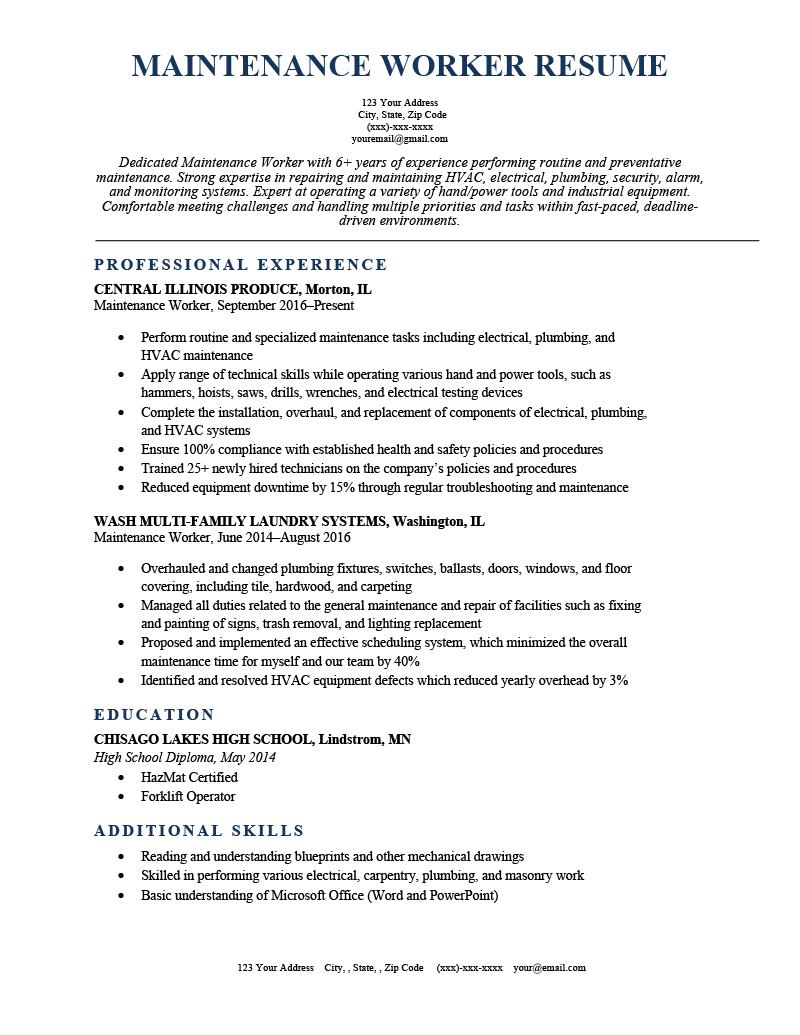 Maintenance Worker Resume Ocean Sample