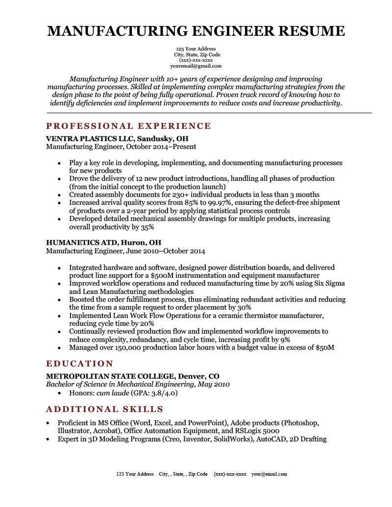 An Example of a Manufacturing Engineer Resume