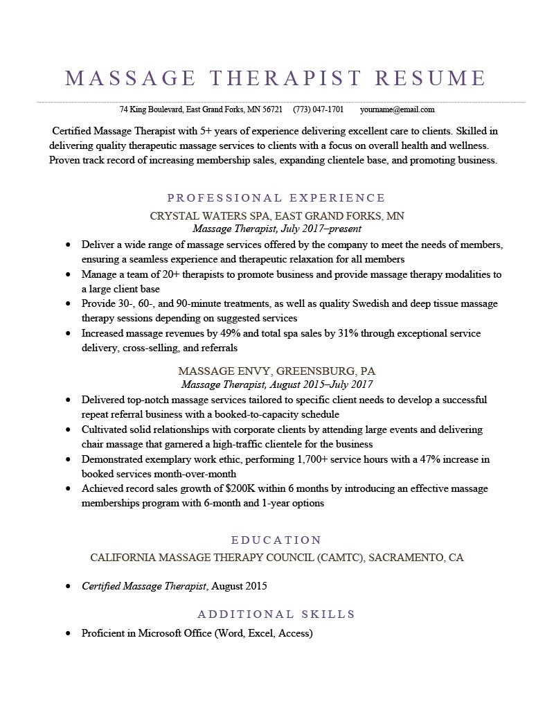 Massage Therapist Resume Sample Template