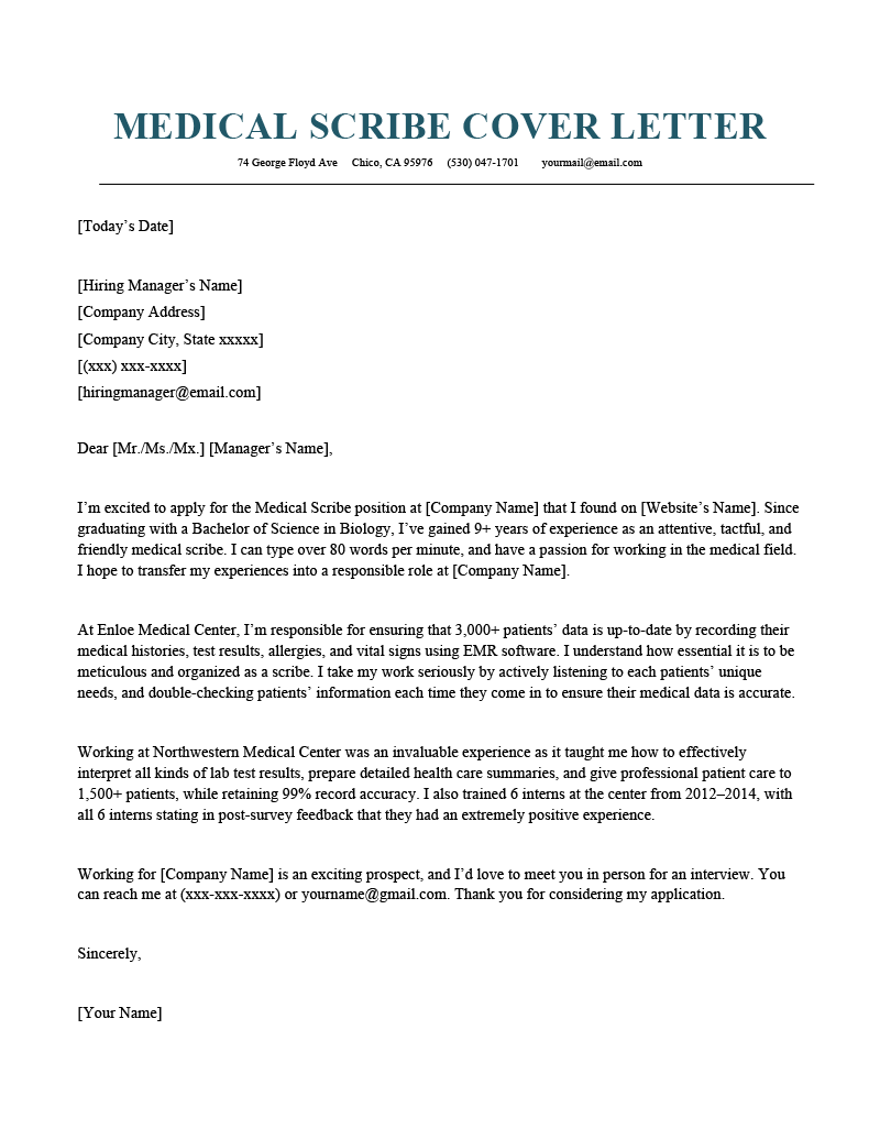 Medical Scribe Cover Letter Example Tips Resume Genius
