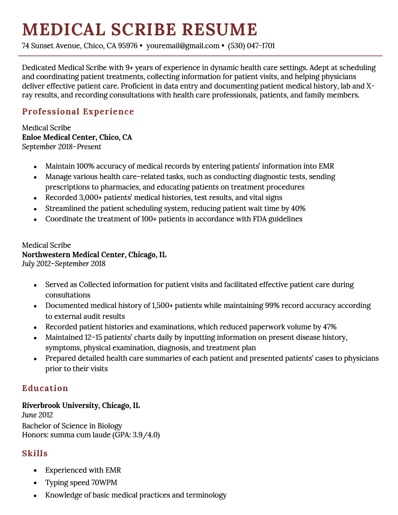 Medical Scribe Resume Sample Template