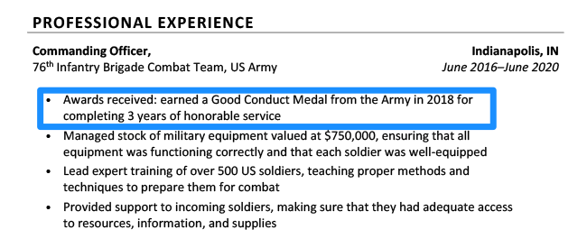 Example of a military award listed on a resume