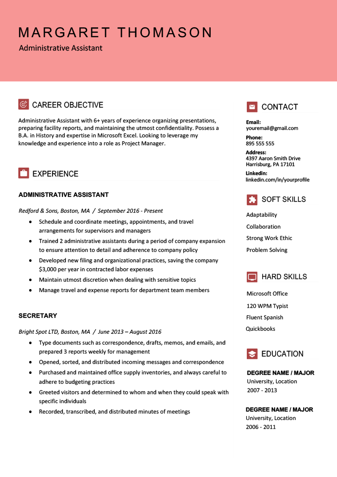 An example of a modern resume layout