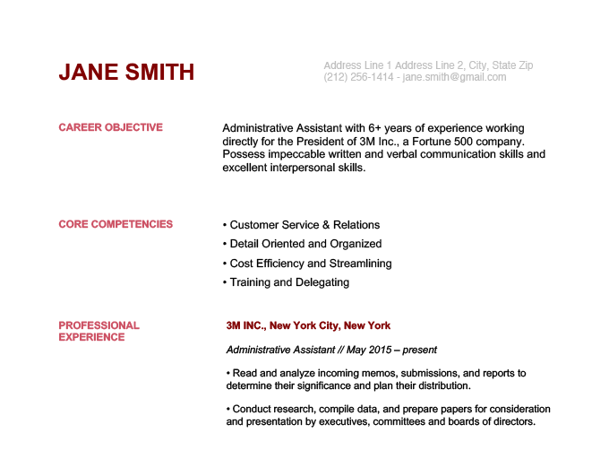 An example of a resume with a muted color scheme