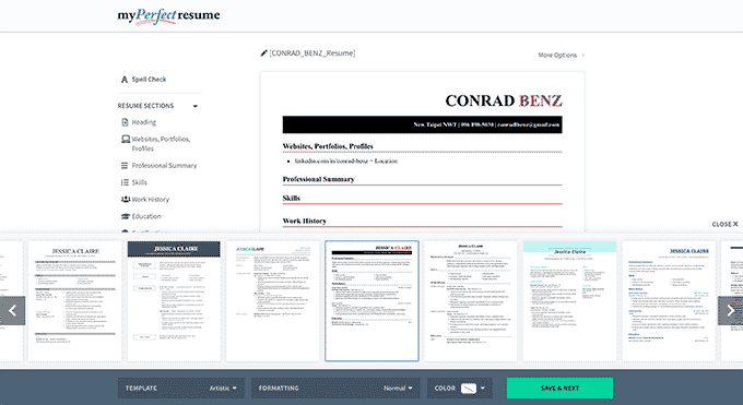 An image from MyPerfectResume's resume builder