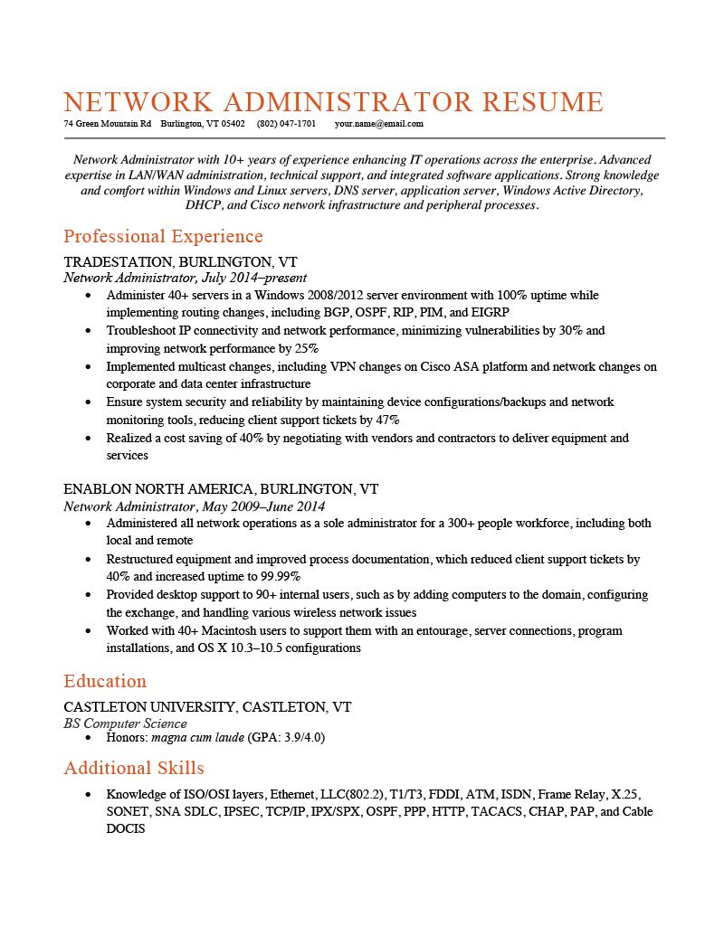 Network Administrator Resume Sample Template