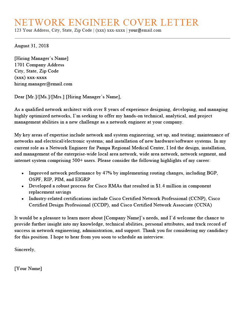 Network Engineer Cover Letter Sample Template