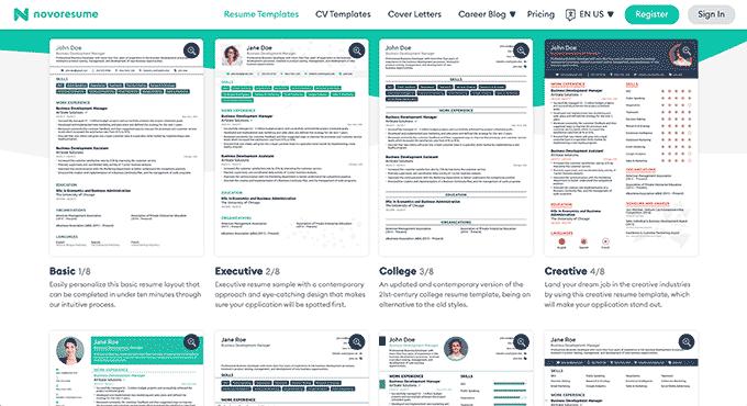 An image of Novoresume's online resume builder