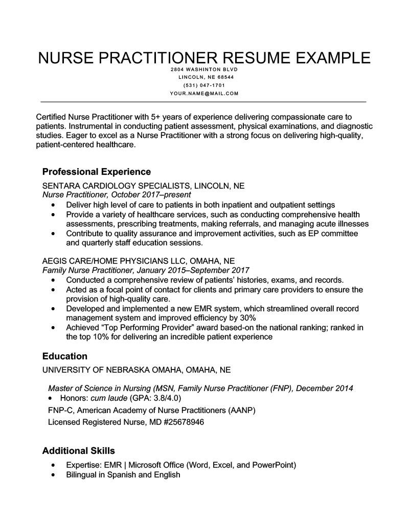 Nurse Practitioner Resume Example Template