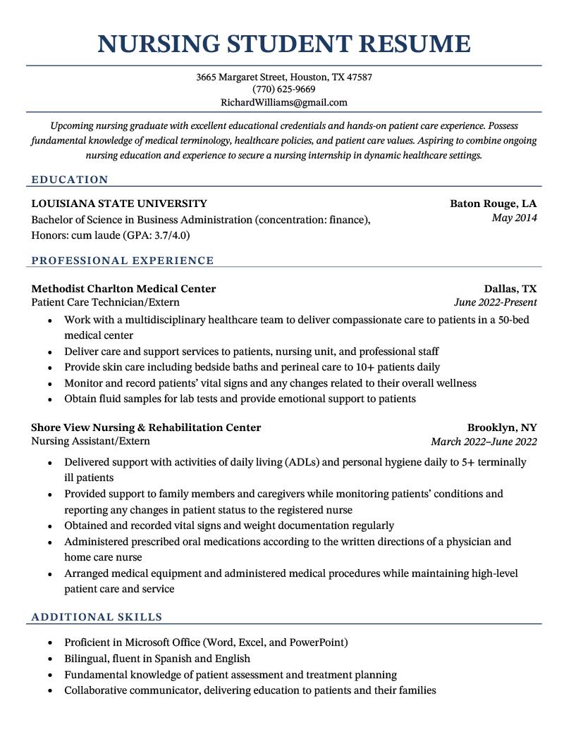 A nursing student resume sample