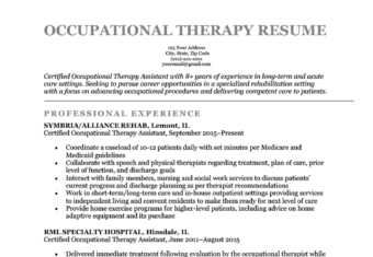 An occupational therapy resume sample