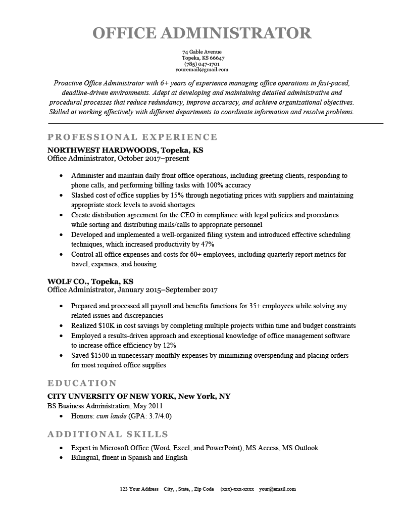 Office Administrator Resume Example Template