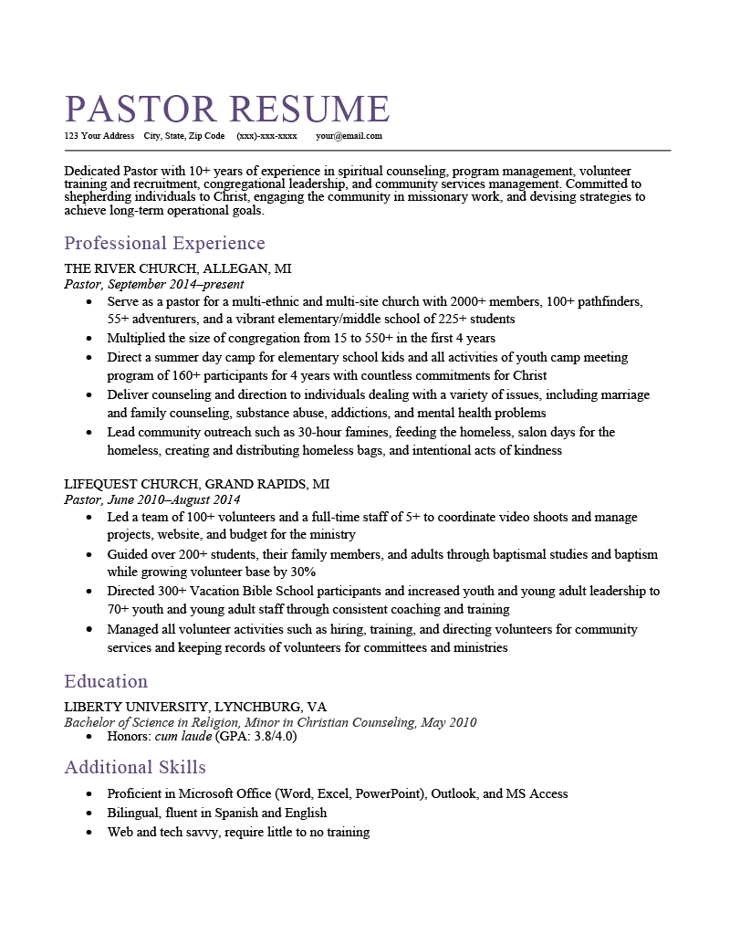 A pastor resume sample