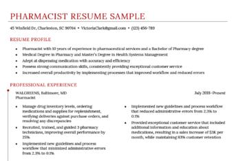 Pharmacist Resume Sample Template
