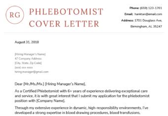 Phlebotomist Cover Letter Sample Template