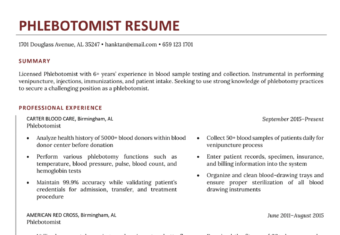 Phlebotomist Resume Sample Template