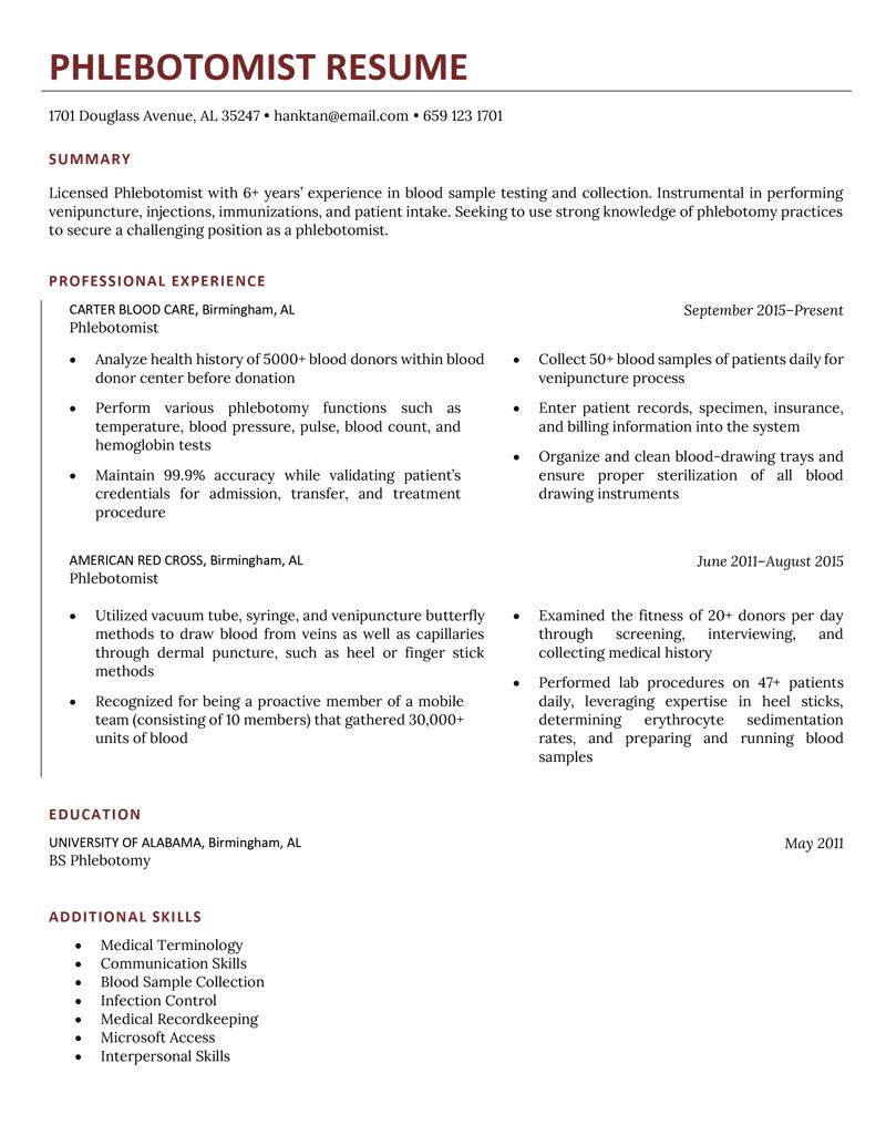 Phlebotomist Resume Sample Template