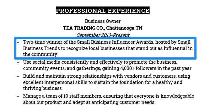 Example of a professional award listed on a resume