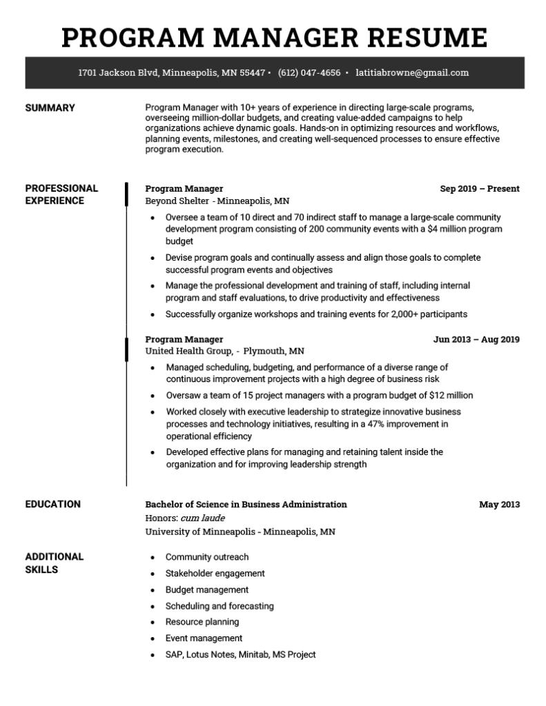 program manager resume sample  resume genius