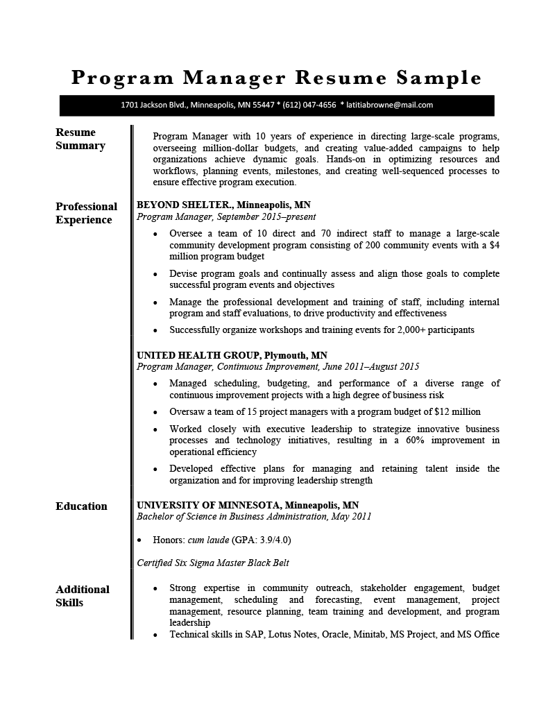 Program Manager Resume Sample Template