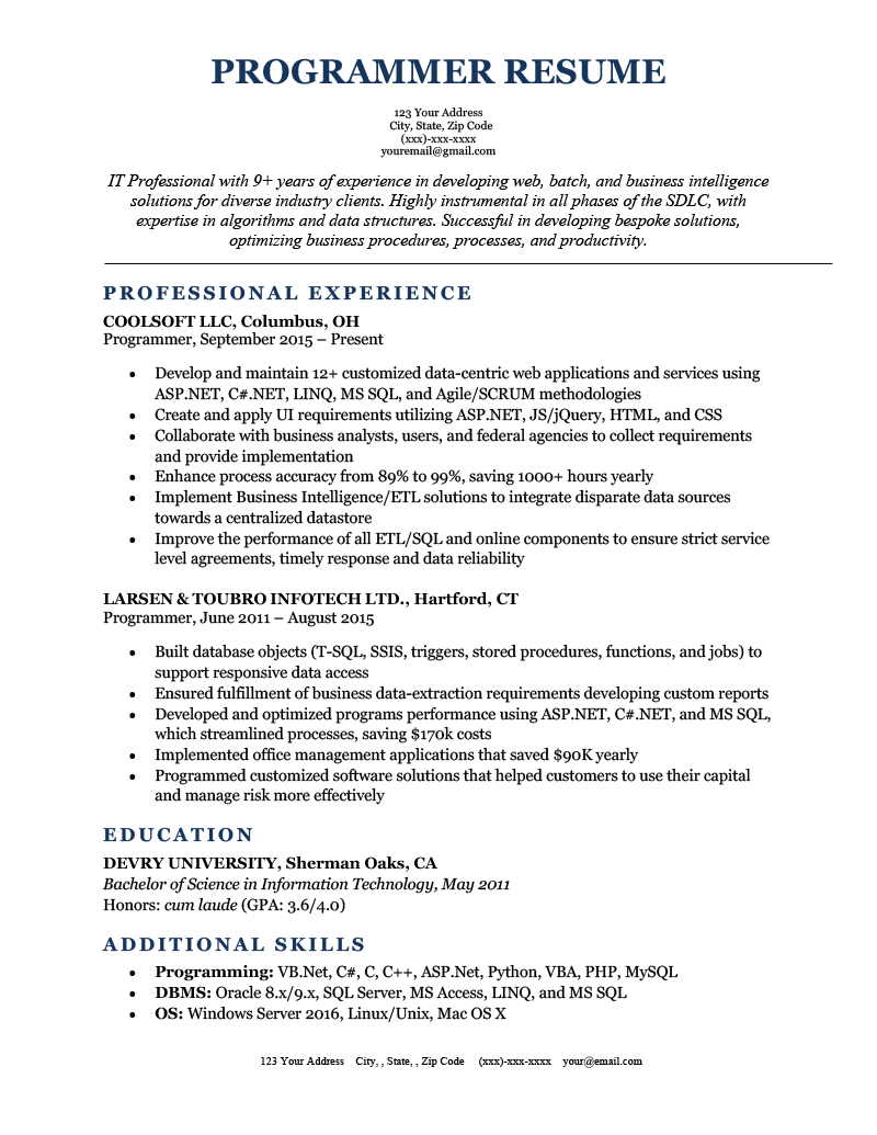 A programmer resume example