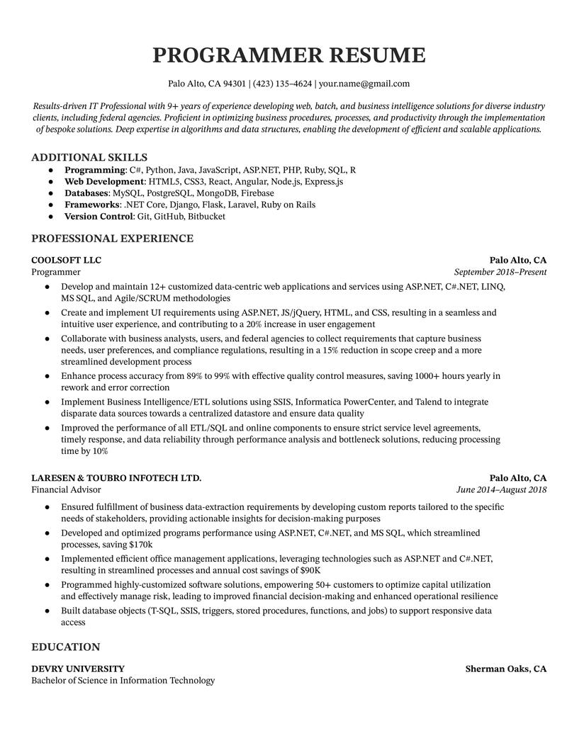 Programmer Resume Example & Writing Tips   Resume Genius