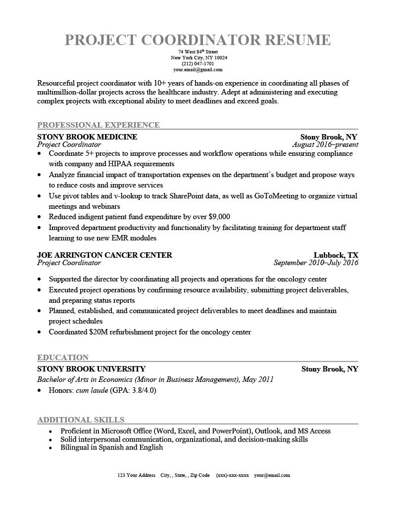 Project Coordinator Resume Sample Template
