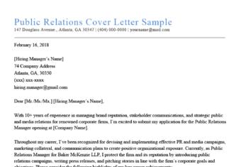 Public Relations Cover Letter Sample
