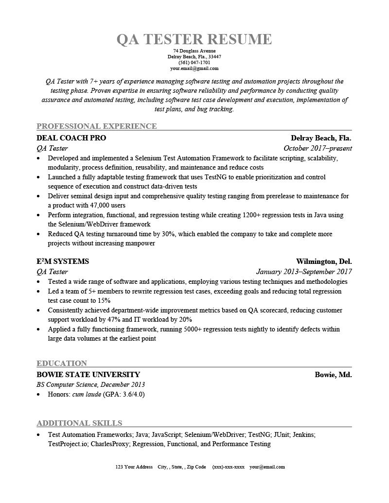QA Tester Resume Template