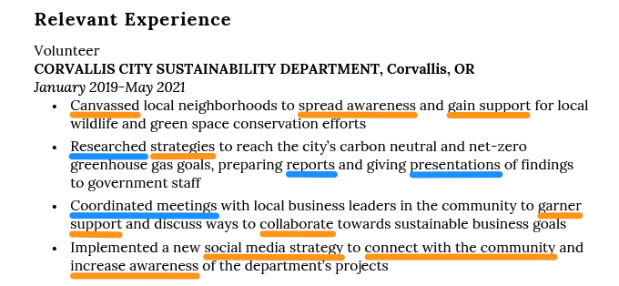 Example of how to include skills from a job description in the relevant experience section of a college graduate resume.