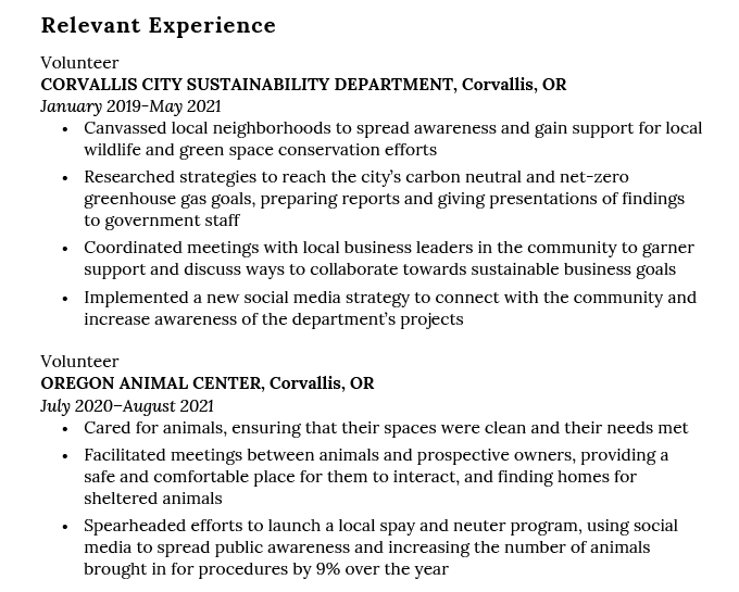 Example of a Relevant Experience section on a recent college graduate resume.