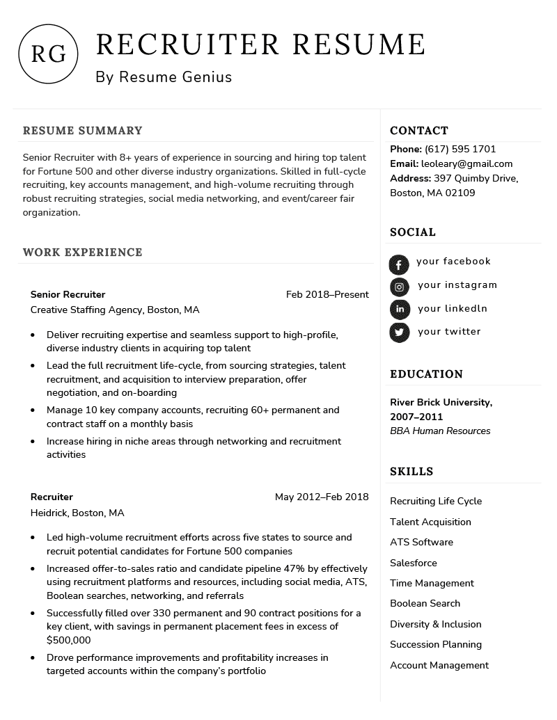 Recruiter Resume Example Template