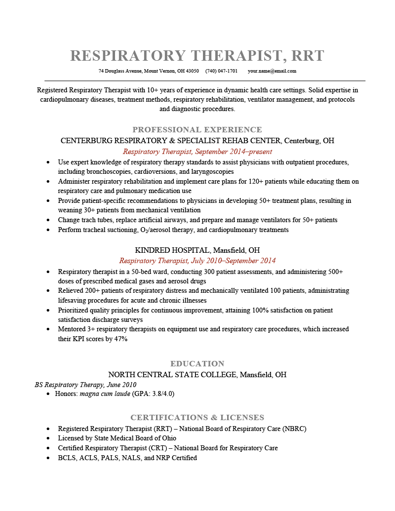 Respiratory Therapist Resume Sample Template