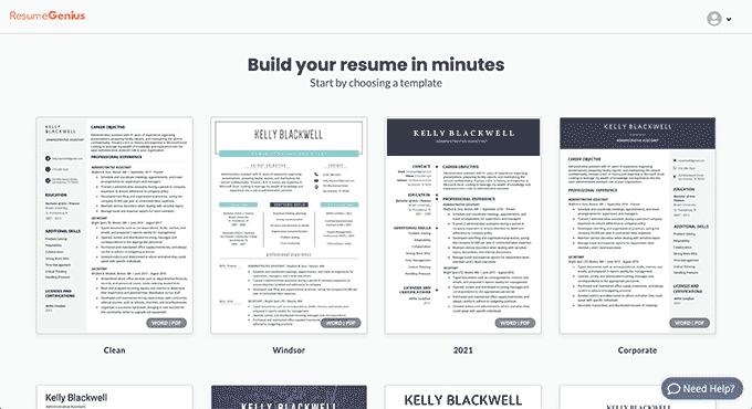 An image of the Resume Genius online resume builder