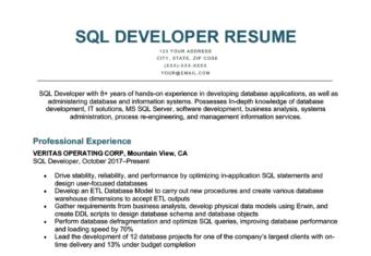 An SQL developer resume sample