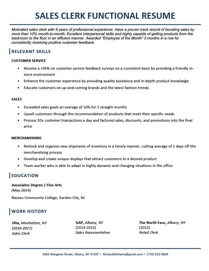 A sales clerk functional resume example
