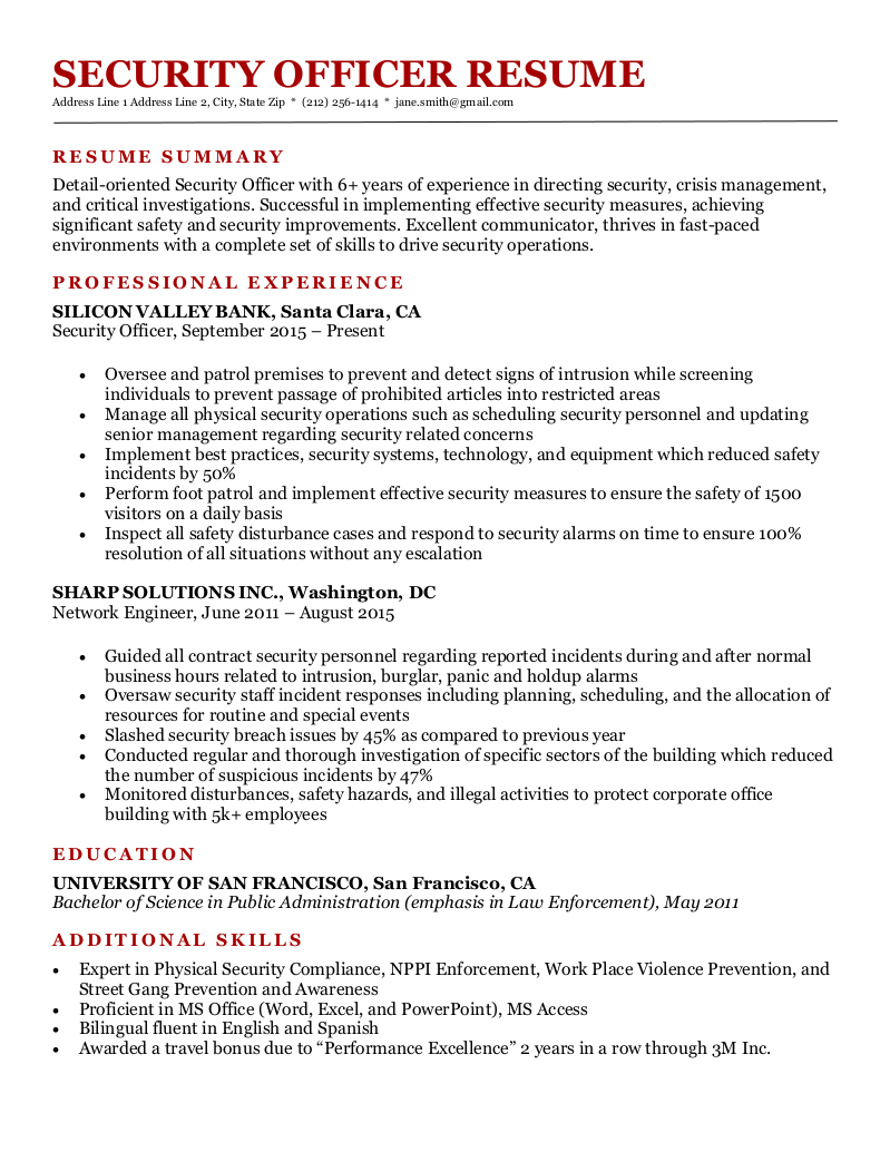 A security officer resume sample